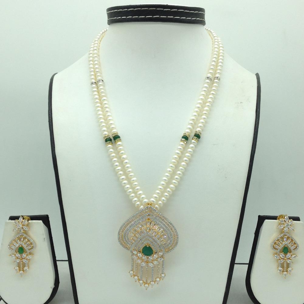 White,greenczpendentset with 2line flatpearls mala jps0691