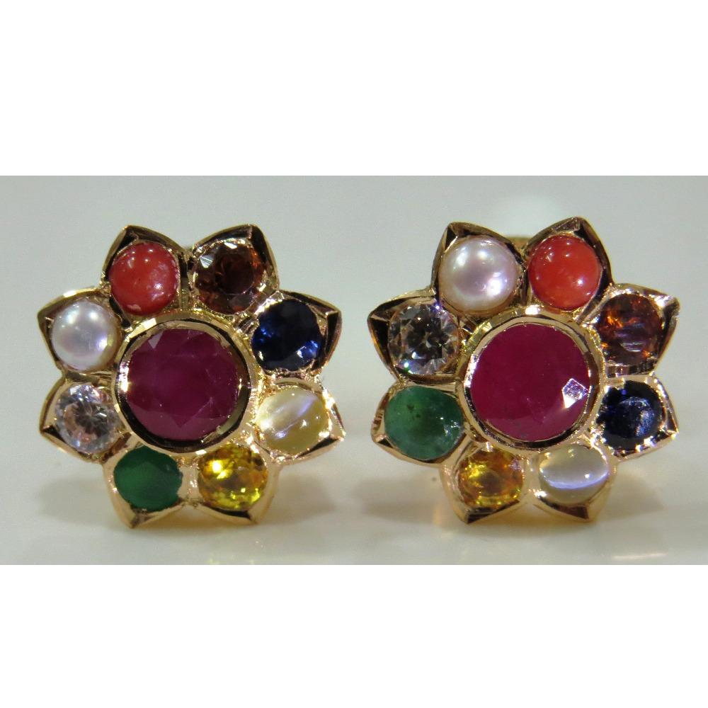 22kt Gold Close Setting Navrathan 9 gemstones Classic Earrings