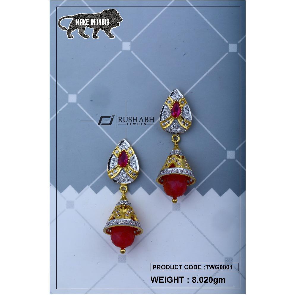 18 carat Gold ladies zummer  tops  long earrings twg0001