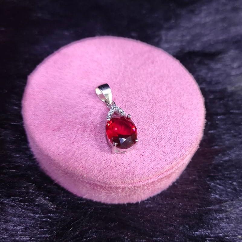 92.5 Sterling Silver Cz Fancy Cosmic Red Stone Pendant For Women