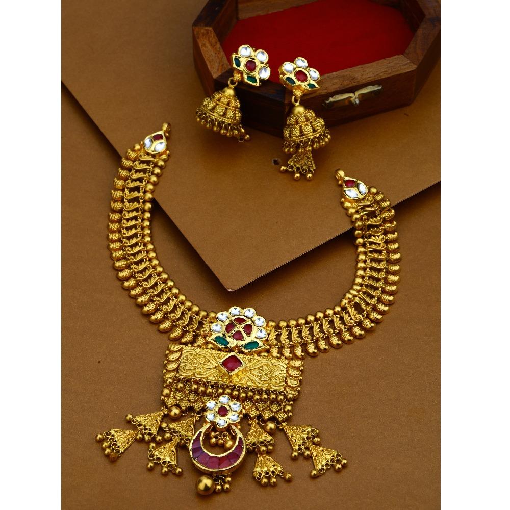 22KT Gold Antique Bridal Necklace Set