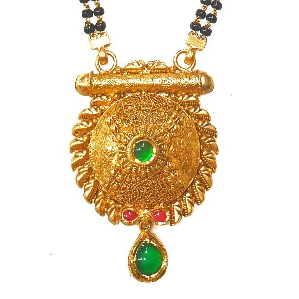 916 Gold Round Shape Antique Mangalsutra MGA - GM037