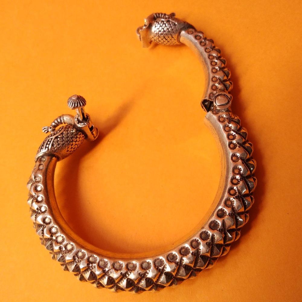 Pure Silver Twin Peacock Rajwada Kada Bangle (adjustable) |puran