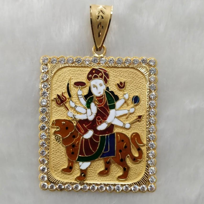 916 Gold Fancy Gent's Ambaji Maa Minakari Pendant