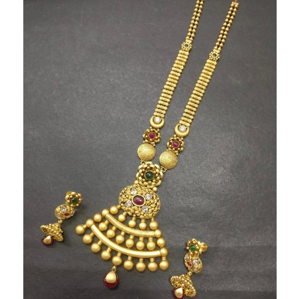 22KT Gold Antique Long Necklace Set kG-N005