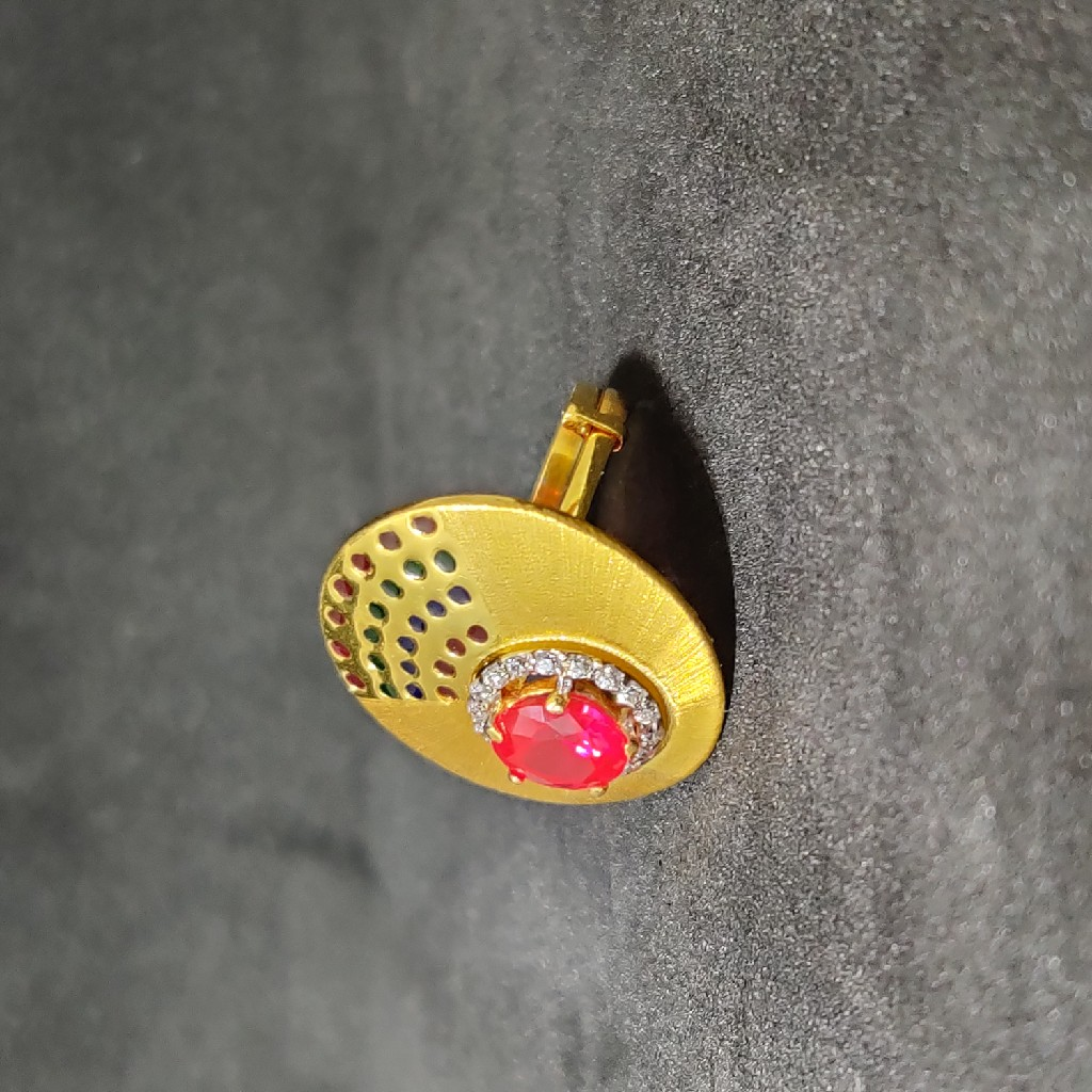Ladies Exclusive Dull Finishing Colourfull 916 Gold Ring-15021