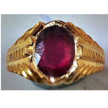 22kt gold close setting gemstone gents ring hgsr-001