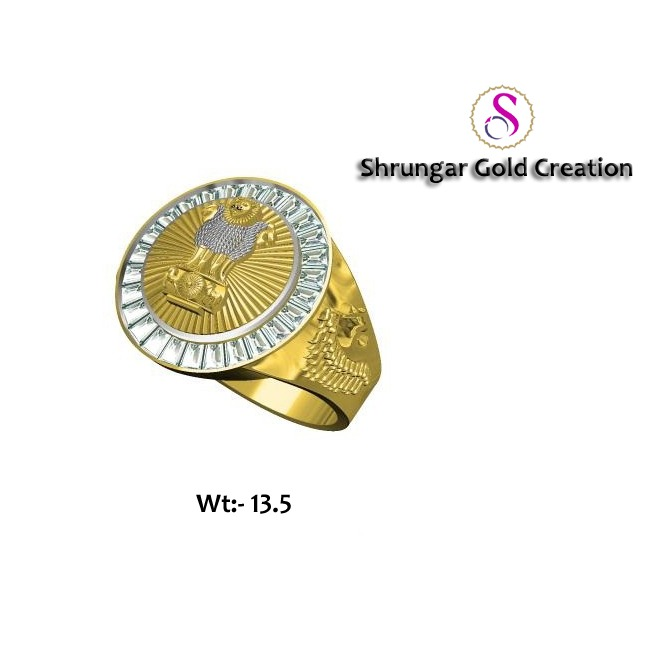 22kt Gold Patriotic Gents CZ Ring