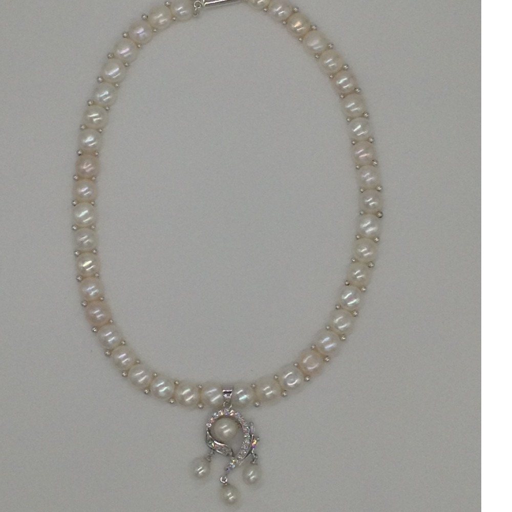 WhiteCZ And Pearls PendentSet With 1Line ButtonJali Pearls Mala JPS0411