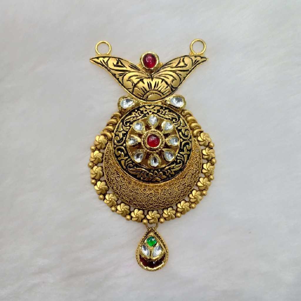 916 Gold Antique Red Stone Mangalsutra Pendant