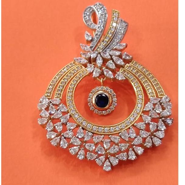 916 Gold Hallmark  Classic One Stone  Pendant
