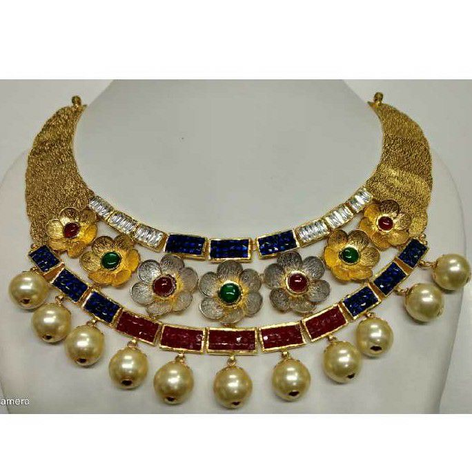 22KT Gold Antique Jadtar Necklace Set
