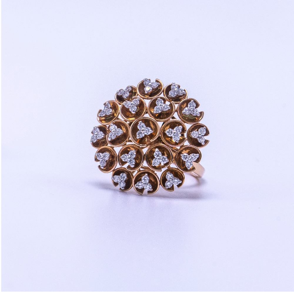 18k  gold diamond round design ring agj-lr-0248