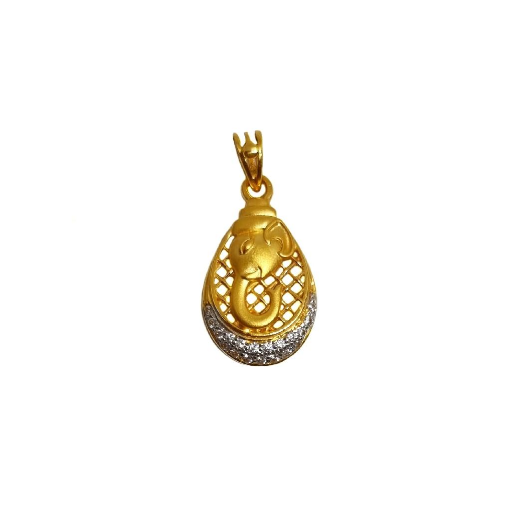 22k gold designer ganesh pendant mga - pdg1212