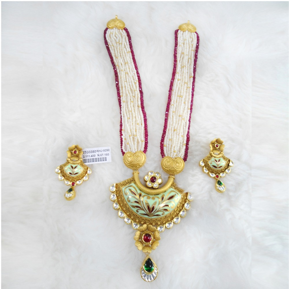 Antique Gold N Jadtar Set: Buy Quality Gold Antique Jadtar Necklace Set RHJ 5290 In