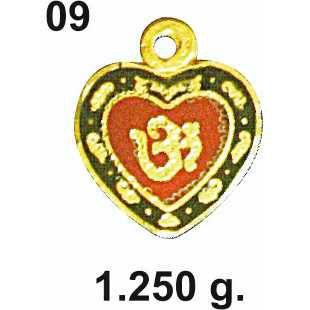 22KT Gold Heart Design Om Pendant