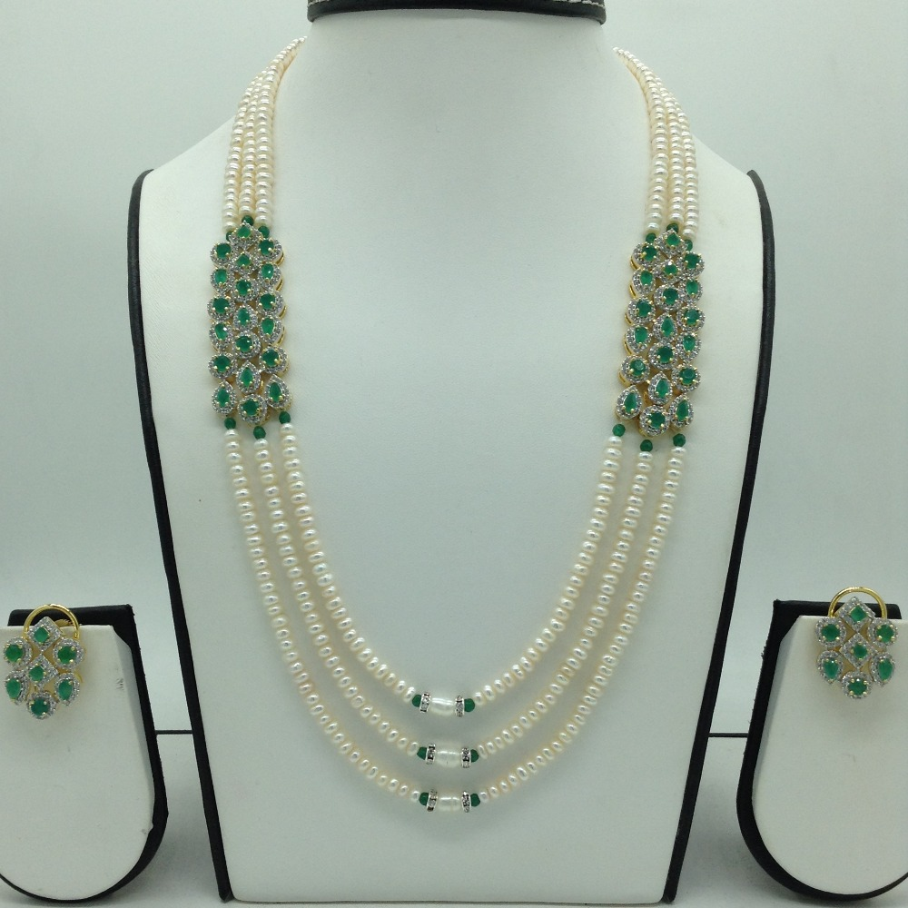 White And GreenCZ BroochSet With 3Lines FlatPearls Mala JPS0654