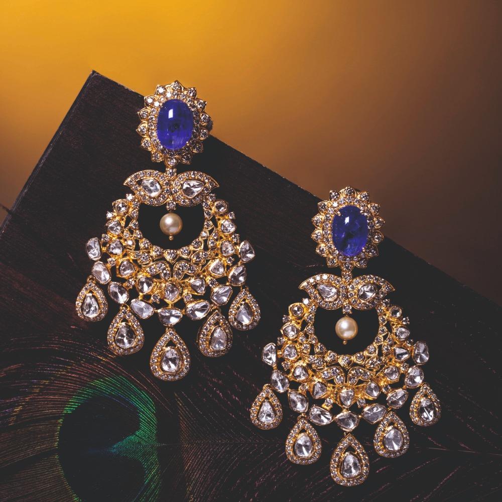 916 Gold Antique Kundan Earrings