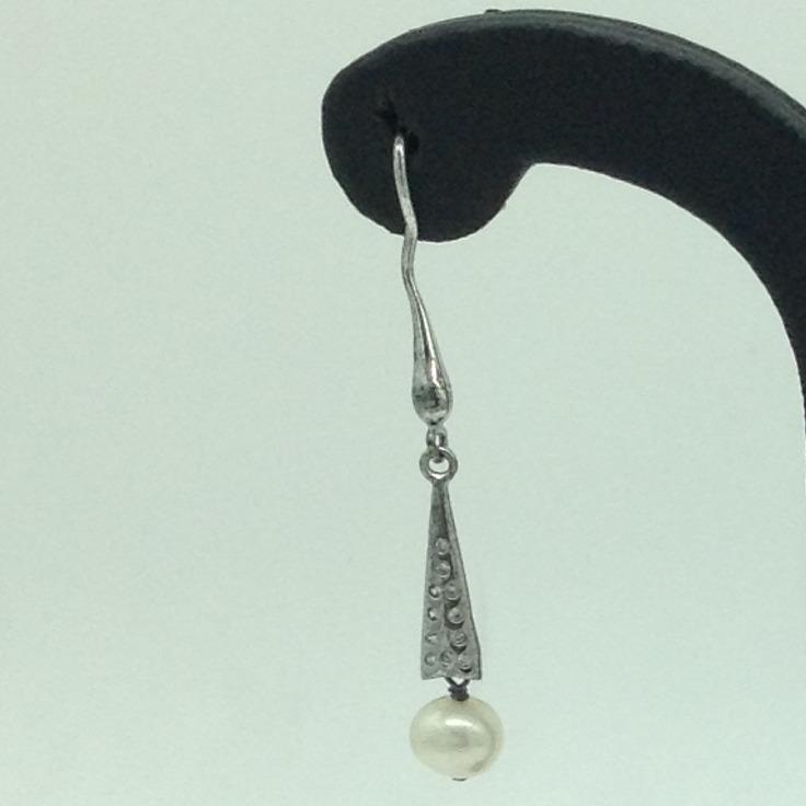 Pearl CZ SilverEar HangingsJER0121