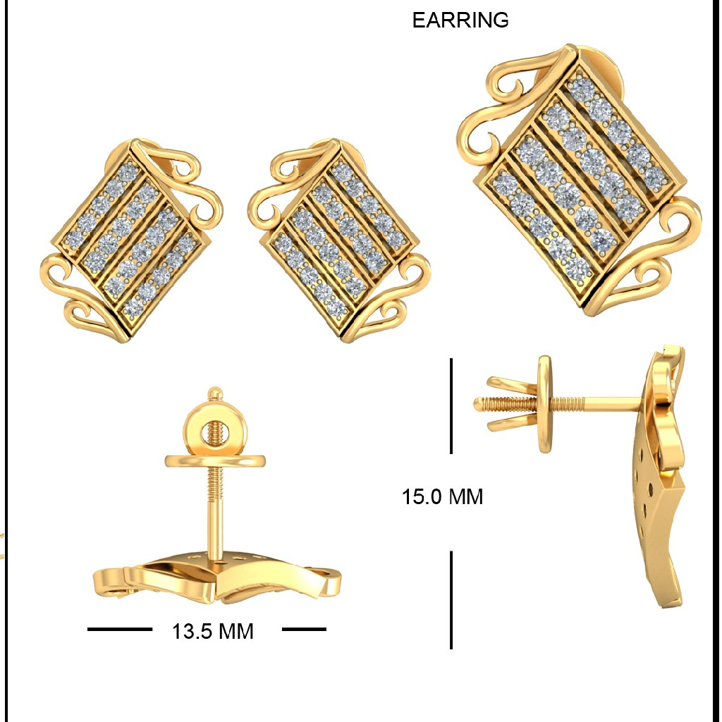 22Kt Yellow Gold Rohini Earrings For Women