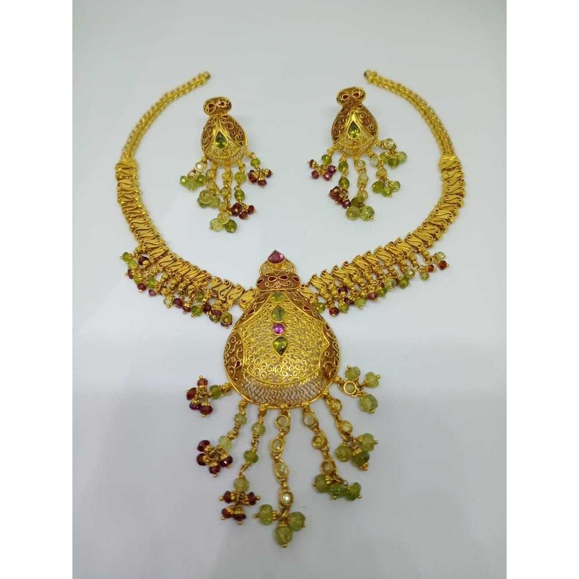 22kt gold indian design necklace set bj-n12