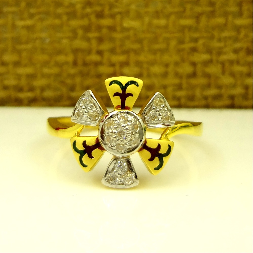 916 GOLD CZ DIAMOND FLORAL PATTERN LADIES RING