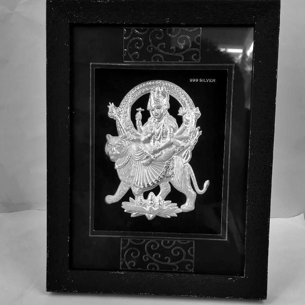 999 Silver Ambaji Maa Frame For Gift