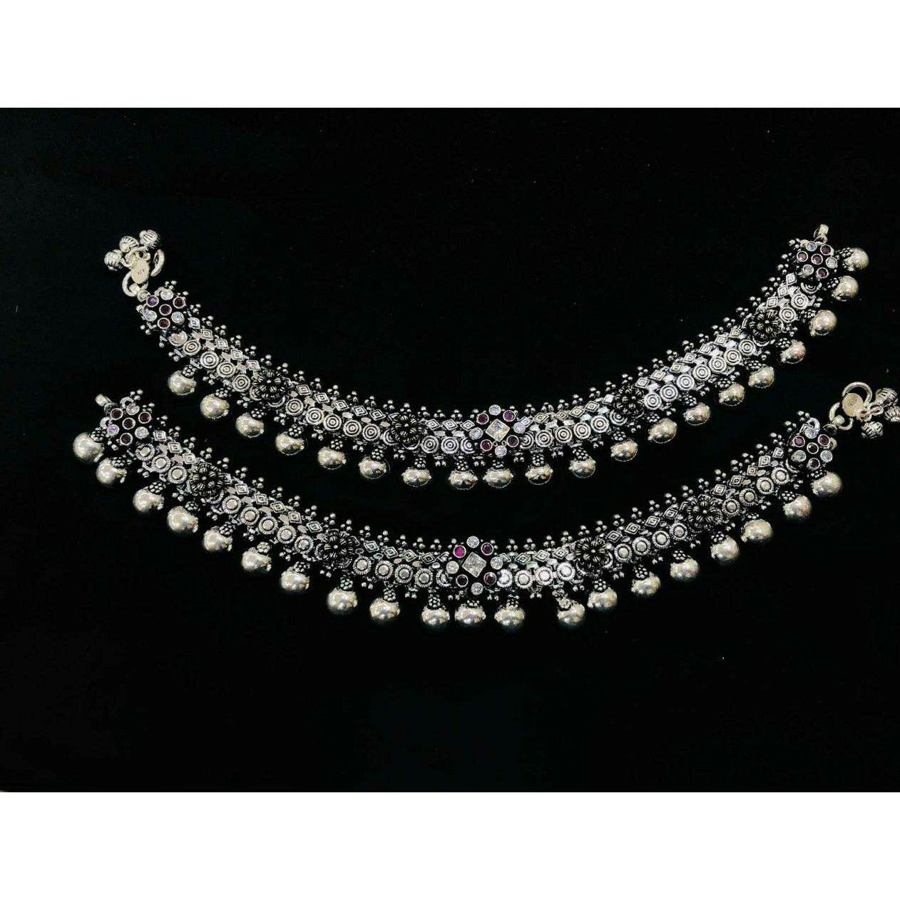 92.5 Sterling Silver Rodyam & Oxodize 2(Two) Tone Payal(Anklet) Ms-3864