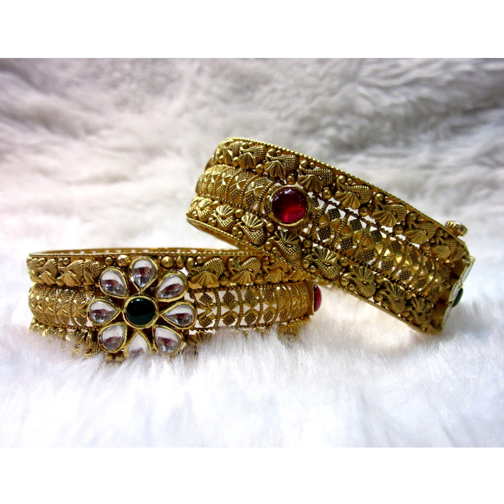 Gold Wedding Special Bridal Broad Antique Jadtar Women Bangles