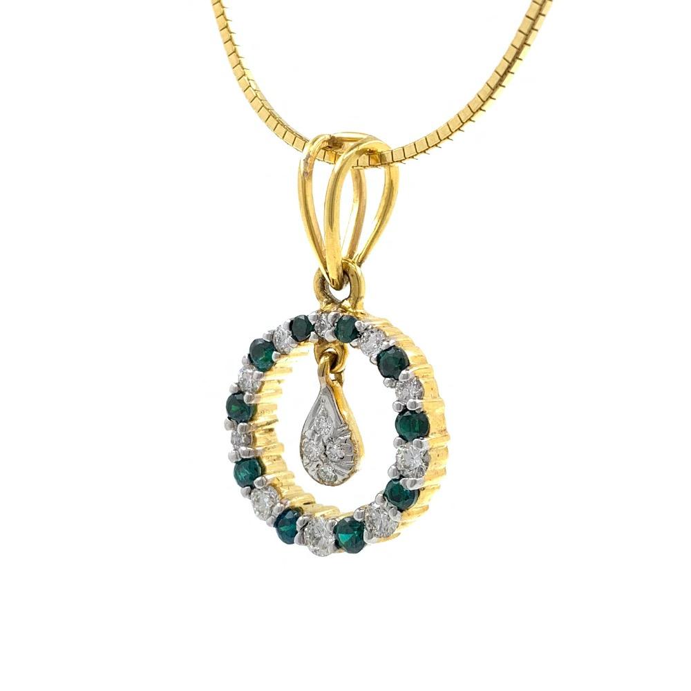 Green Coloured Stone & Diamond Pendant in Yellow Gold 8SHP14