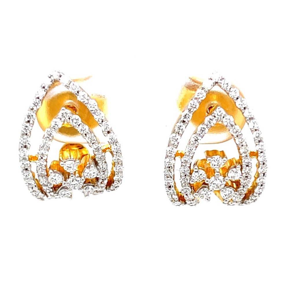Traditional Pair of Bali with Flower Motif in 18K Hallmark Gold