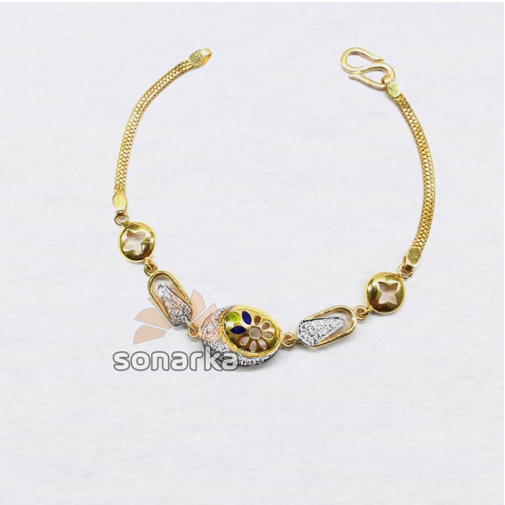 916 Designer Plain Gold Colourful Beaded Ladies Bracelet