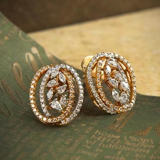 Two tone fancy marquise earring