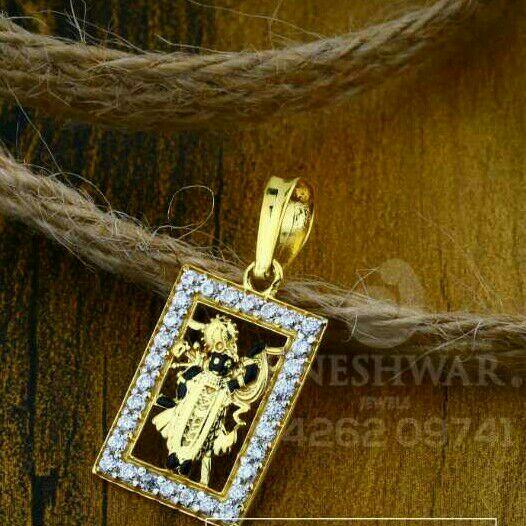 18kt Shrinathji Fancy Gold Cz Pendant