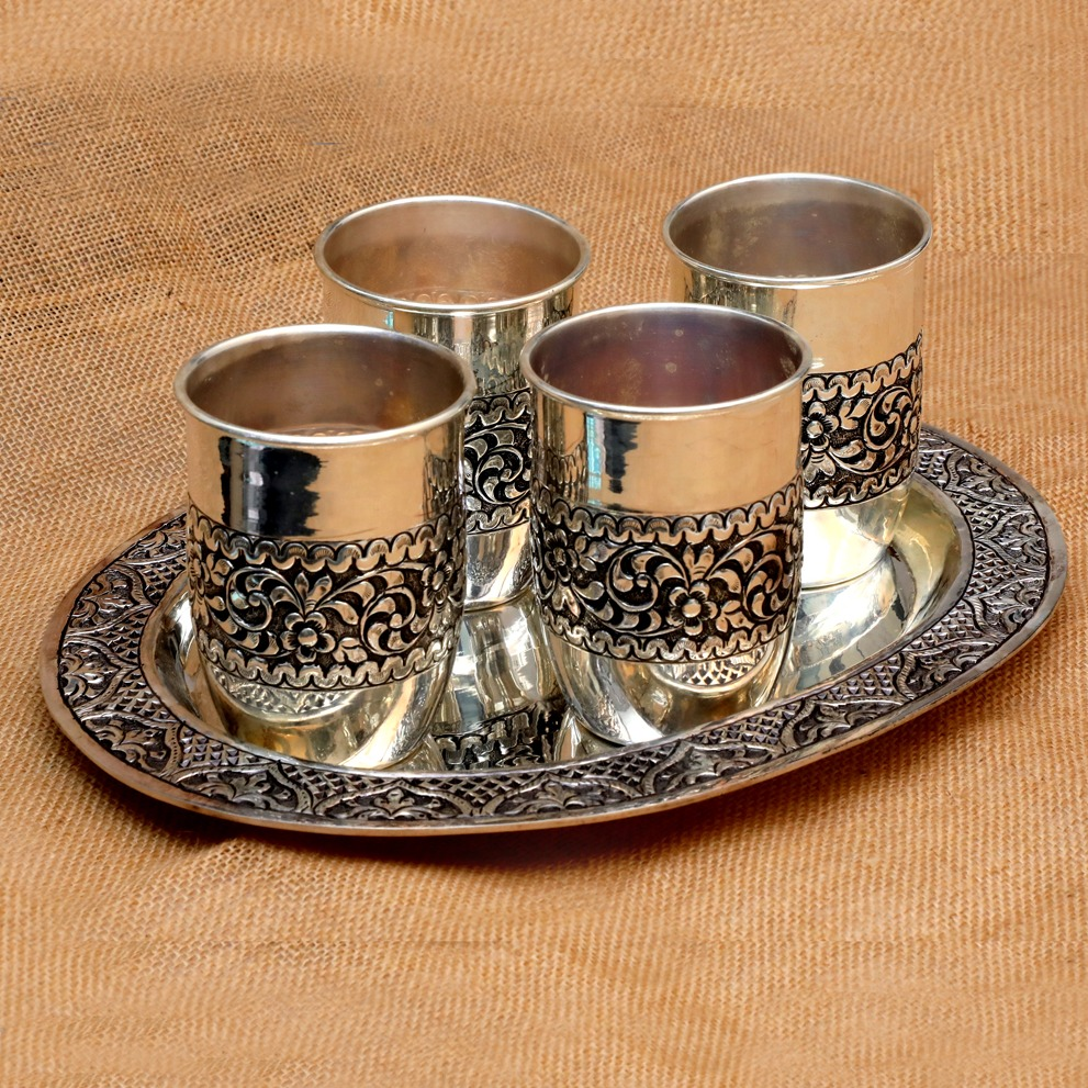 Silver Glass & Tray Set Of 4