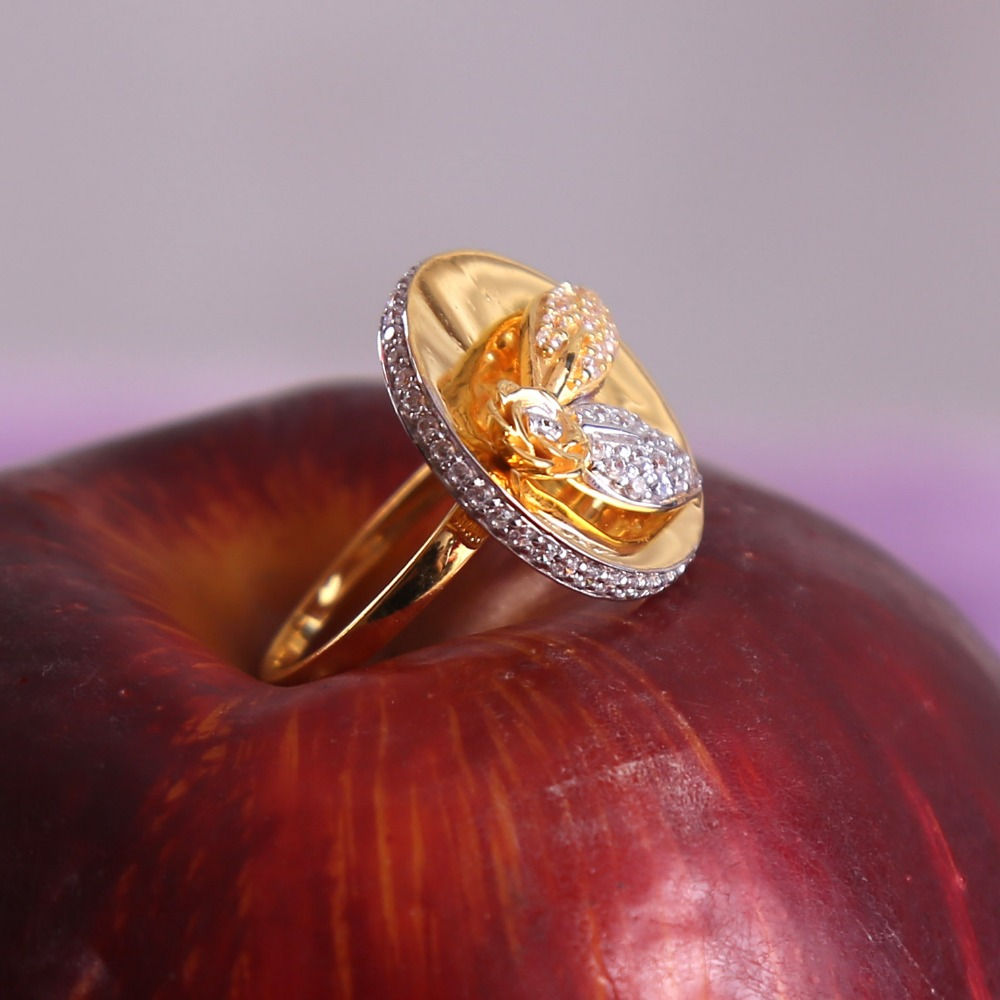 916 gold cz daimond cocktail ladies ring