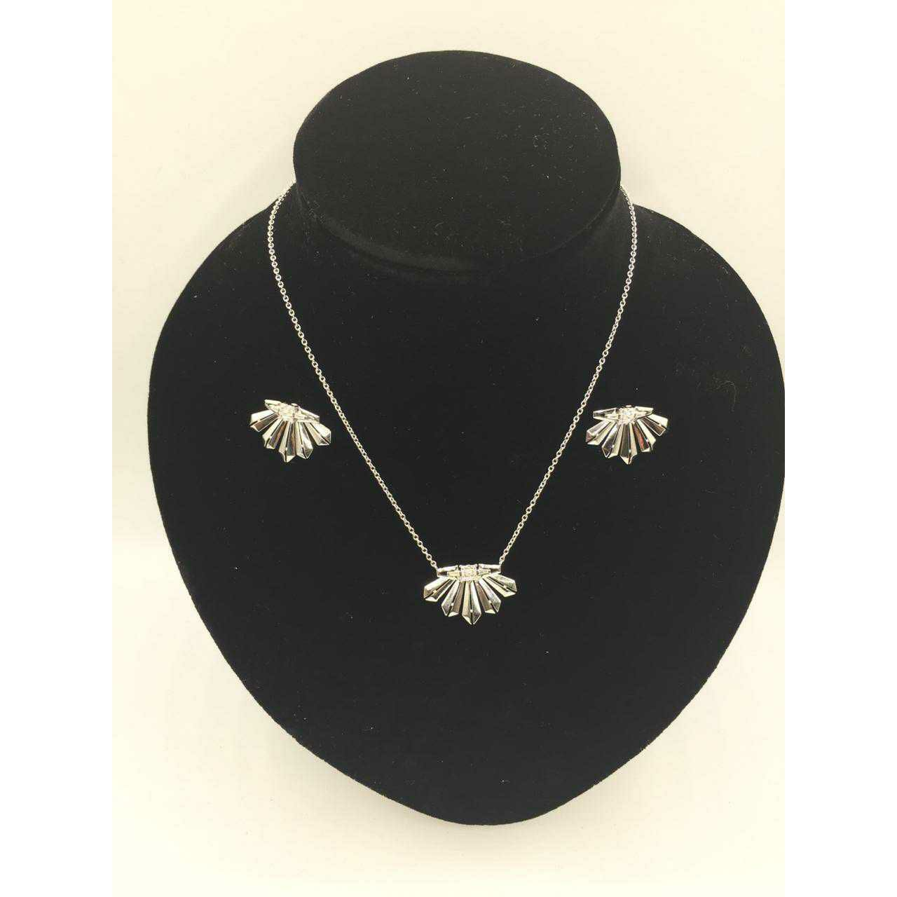 92.5 Sterling Silver Rodyam Weeding Chain With Pendant & Earring Set Ms-3098