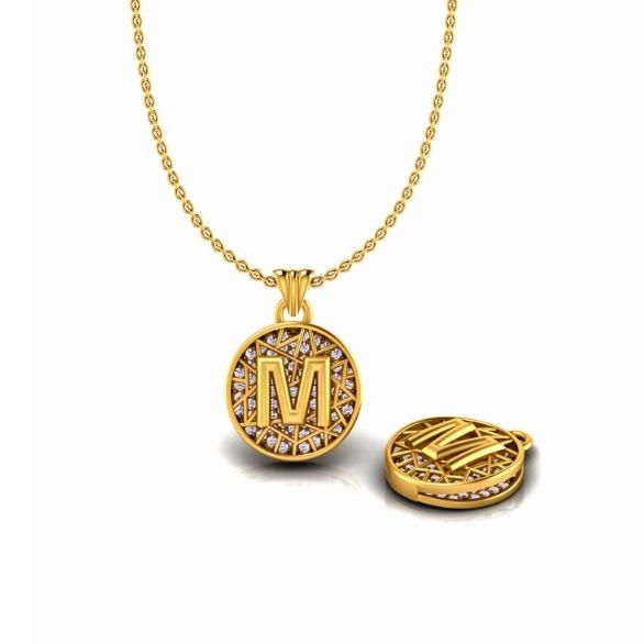916 Gold CZ M Alphabet Pendant Chain SO-P003