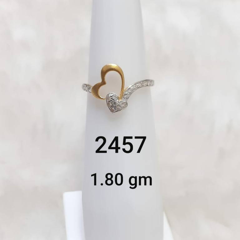 Double heart shaped delicate ladies ring