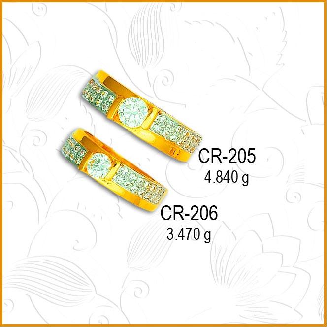 22KT Gold Fancy CZ Diamond Couple Ring CR-205