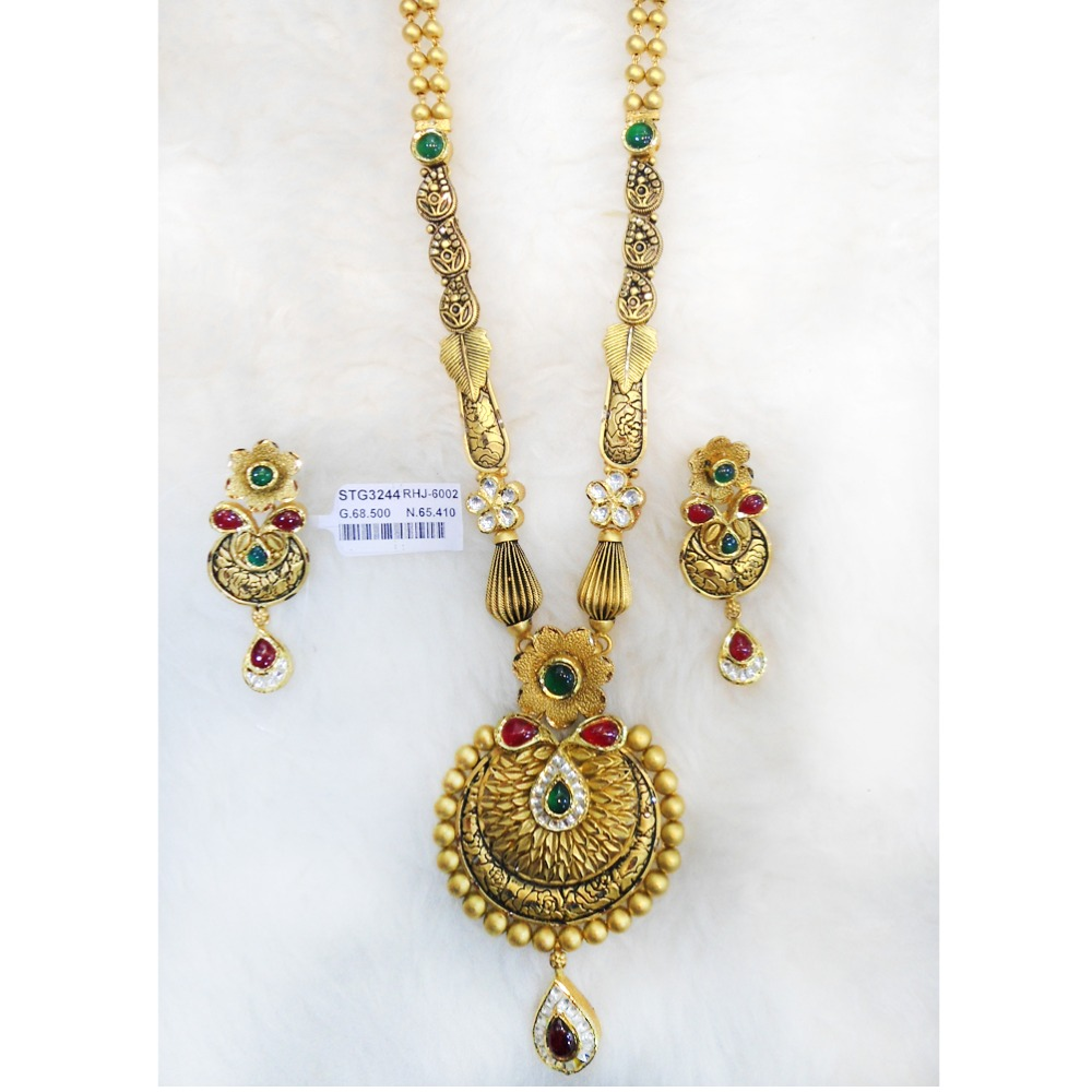 916 Gold Antique Long Necklace Set RHJ-6002