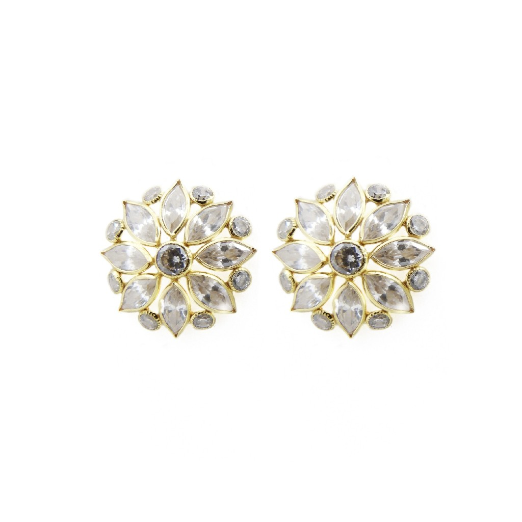 18K Gold White Marquise Stone Tops