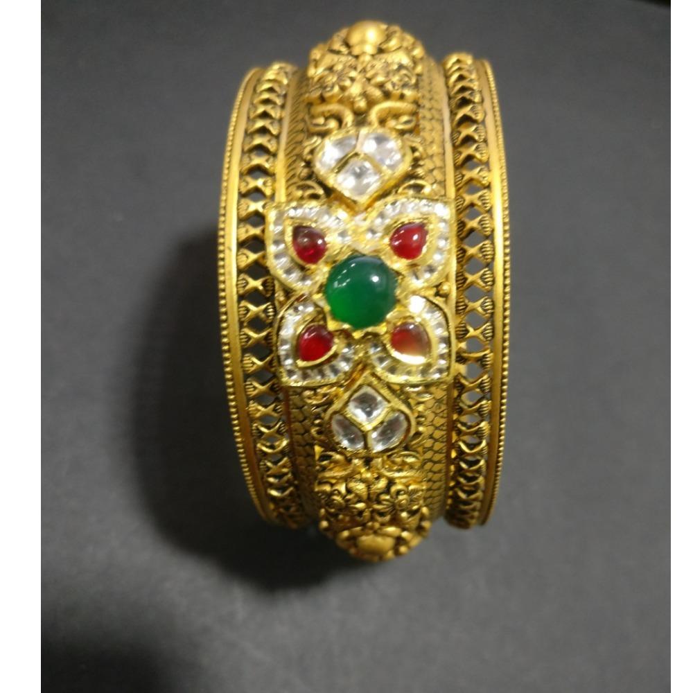 916 Gold Antique Wedding Kada Bangle KG-B004