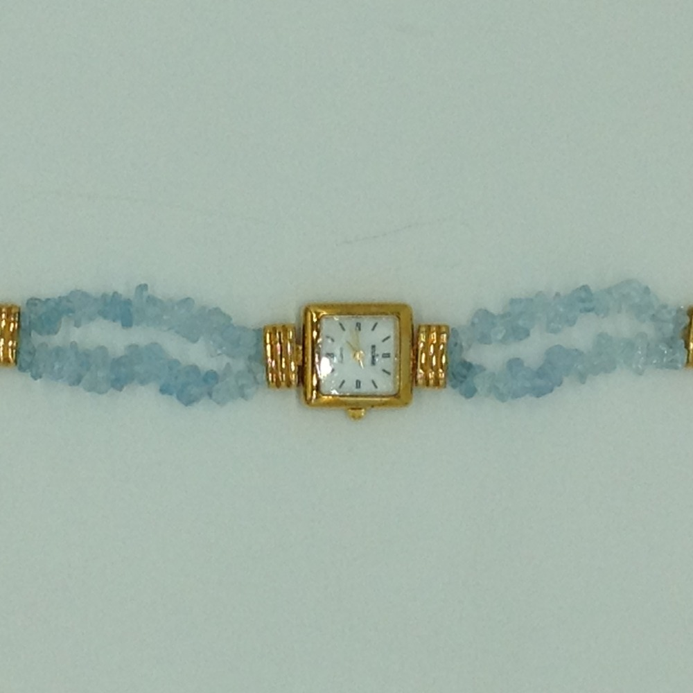 Aquamarine chipsbeeds 2layers watchjbg0217