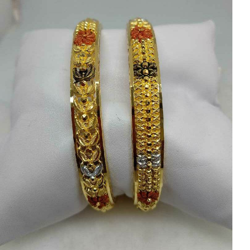 22KT Antique Plain Gold Calcutti Bangles
