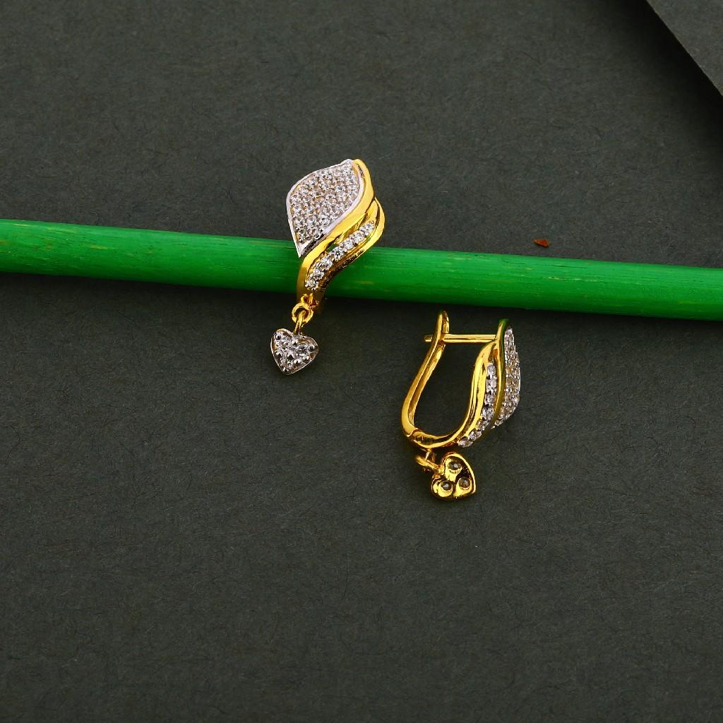 750 Gold Cz Fancy Earring Bali LFB111