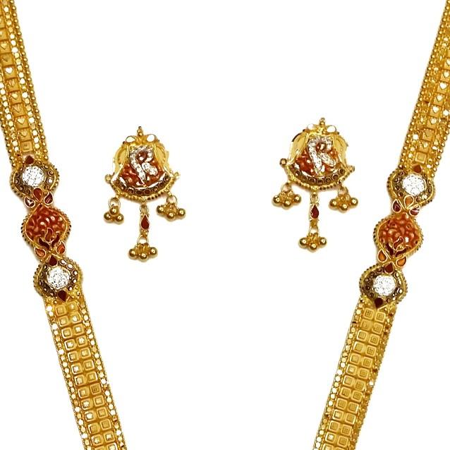 22k Gold Kalkatti CZ Diamond Minakari Necklace Set MGA - GLS046