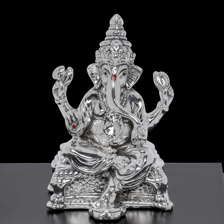 92.5 Sterling Silver Sitting Ganesha With Sindoor Idols
