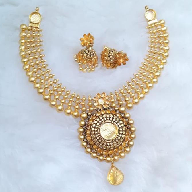 916 Gold Antique Khokha Necklace Set KG-N01