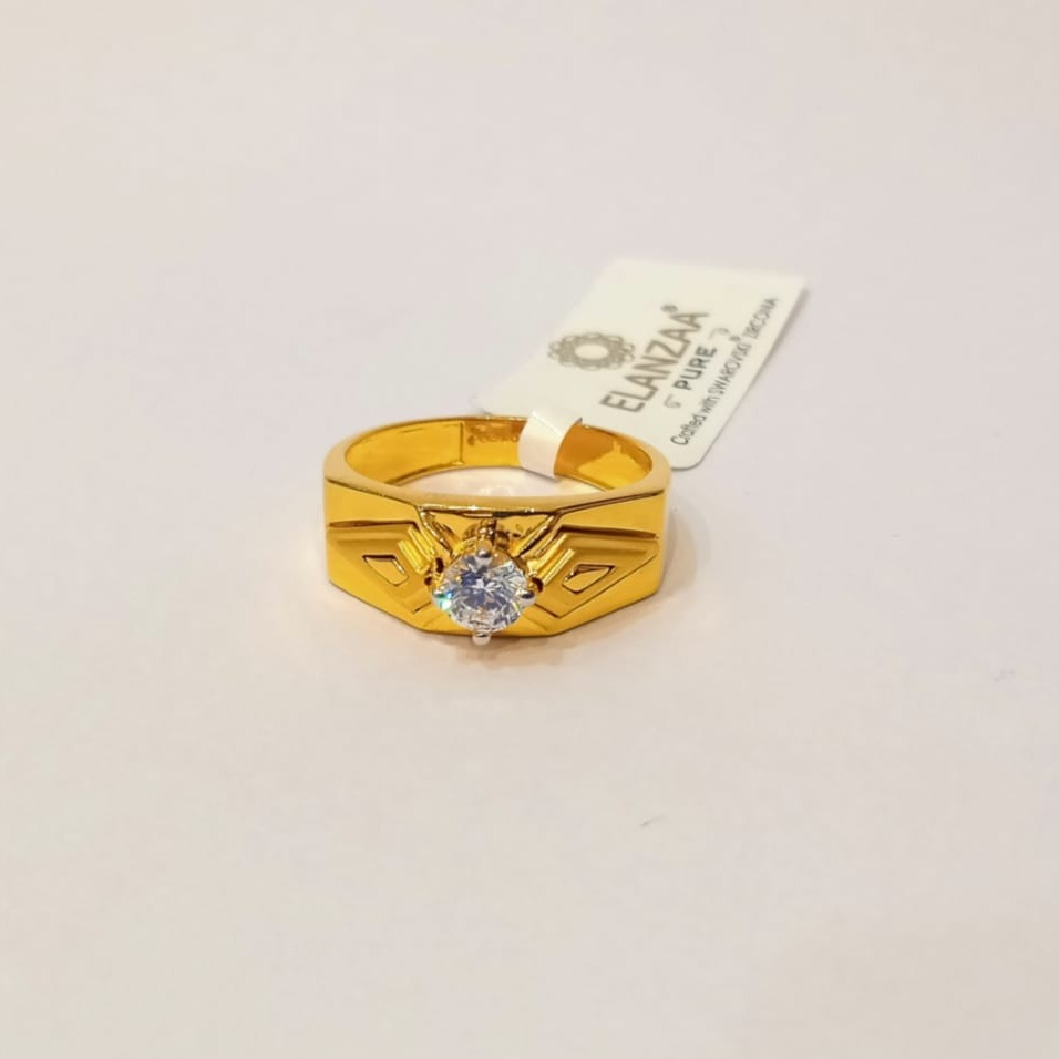 22kt gold cz single stone ring for men gk-r06